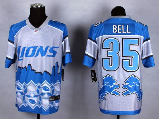 Mens Nfl Detroit Lions #35 Bell Blue&white 2015 Noble Fashion Elite Jersey