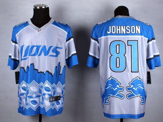Mens Nfl Detroit Lions #81 Johnson Blue&white 2015 Noble Fashion Elite Jersey