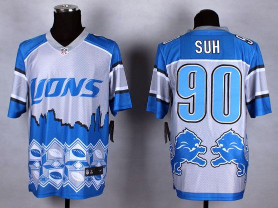 Mens Nfl Detroit Lions #90 Suh Blue&white 2015 Noble Fashion Elite Jersey