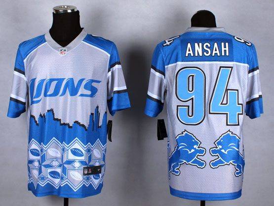 Mens Nfl Detroit Lions #94 Ansah Blue&white 2015 Noble Fashion Elite Jersey