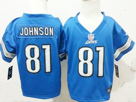 Kids Nfl Detroit Lions #81 Johnson Light Blue Jersey