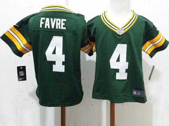 Kids Nfl Green Bay Packers #4 Favre Green Jersey