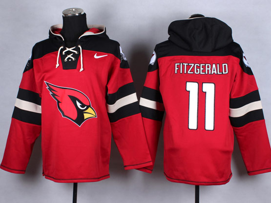 Mens Nfl Arizona Cardinals #11 Larry Fitzgerald Red (new Single Color) Hoodie Jersey