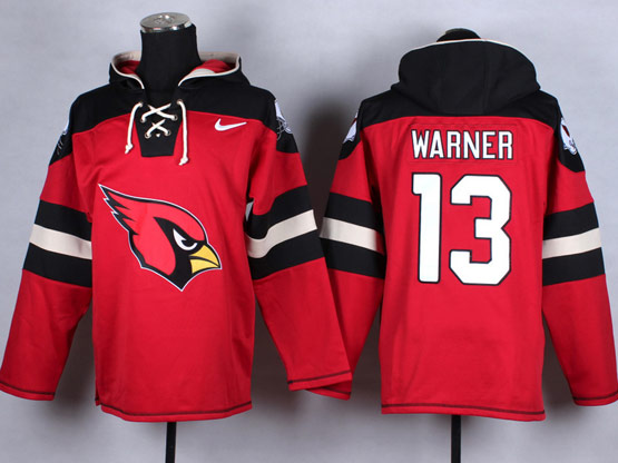 Mens Nfl Arizona Cardinals #13 Warner Red (new Single Color) Hoodie Jersey