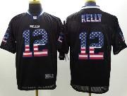 mens nfl Buffalo Bills #12 Jim Kelly black (2014 usa flag fashion) elite jersey