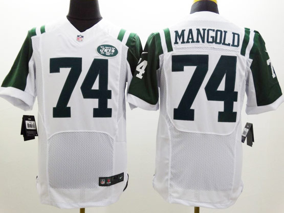 Mens Nfl New York Jets #74 Mangold White Elite Jersey