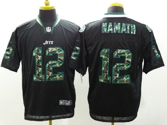 Mens Nfl New York Jets #12 Namath Black 2014 Camo Fashion Elite Jersey