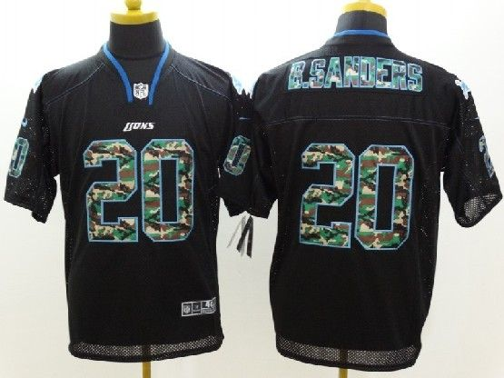 mens nfl Detroit Lions #20 Barry Sanders black 2014 camo fashion elite jersey