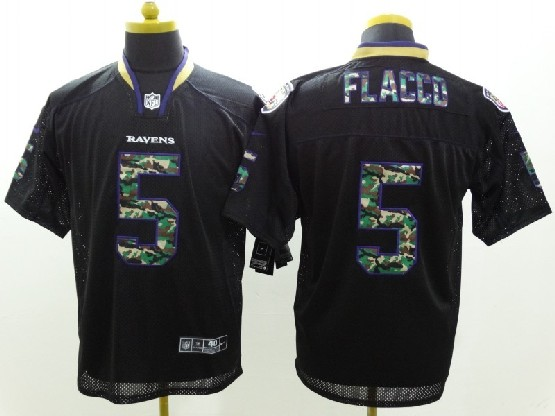 Mens Nfl Baltimore Ravens #5 Joe Flacco Black 2014 Camo Fashion Elite Jersey