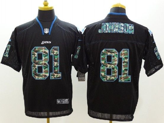 Mens Nfl Detroit Lions #81 Johnson Black 2014 Camo Fashion Elite Jersey