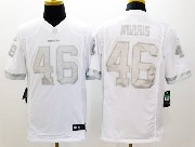 Mens Nfl Washington Red Skins #46 Morris White (silver Number) Platinum Limited Jersey