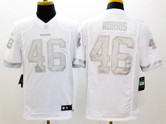 Mens Nfl Washington Red Skins #46 Morris White (silver Number) Platinum Limited Jersey