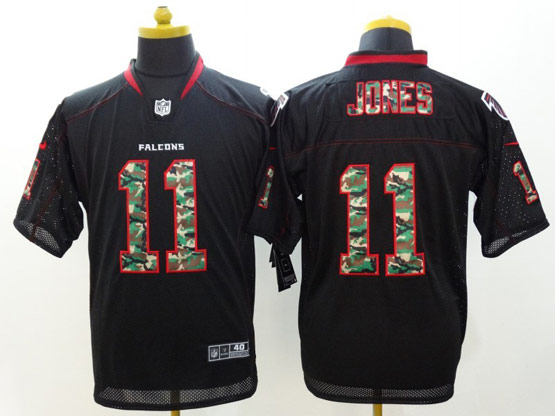 Mens Nfl Atlanta Falcons #11 Jones Black (2014 Camo Number Fashion) Elite Jersey