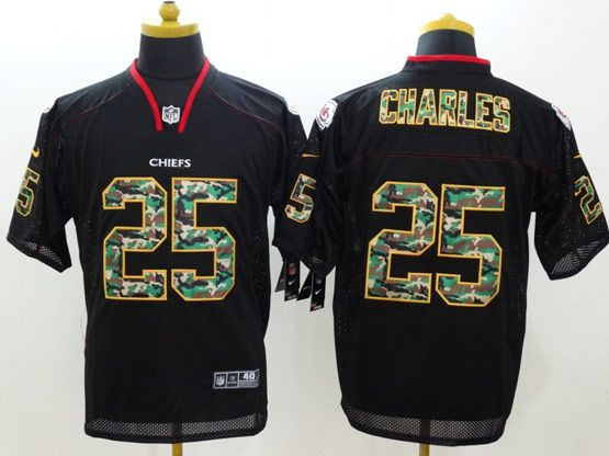 Mens Nfl Kansas City Chiefs #25 Charles Black (2014 Camo Number Fashion) Elite Jersey