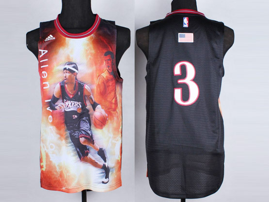 Mens Nba Philadelphia 76ers #3 Allen Iverson Black (2014 Portrait) Jersey