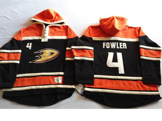 Mens Nhl Anaheim Mighty Ducks #4 Fowler Black&orange (team Hoodie) Jersey