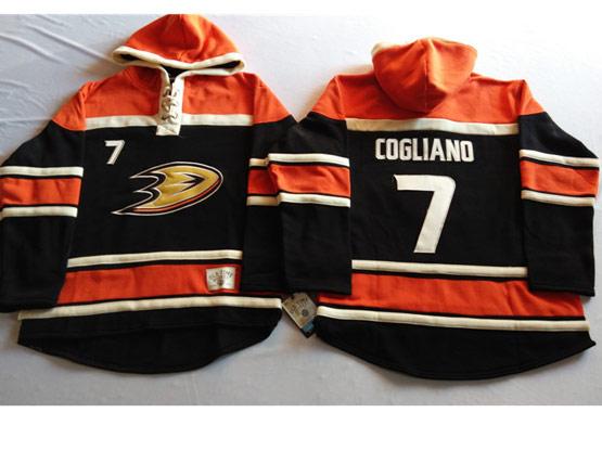 Mens Nhl Anaheim Mighty Ducks #7 Cogliano Black&orange (team Hoodie) Jersey