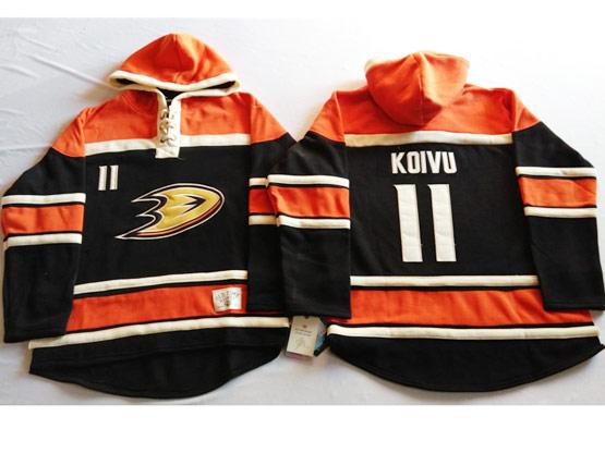 Mens Nhl Anaheim Mighty Ducks #11 Koivu Black&orange (team Hoodie) Jersey