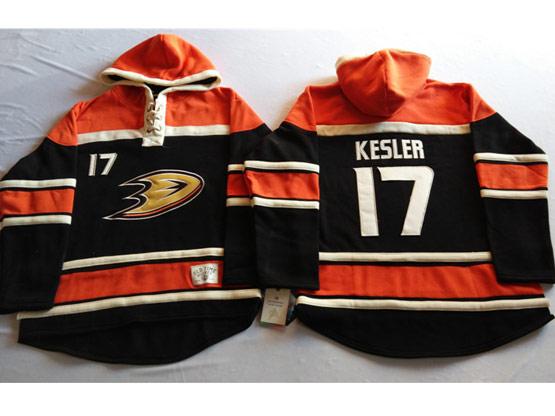 Mens Nhl Anaheim Mighty Ducks #17 Kesler Black&orange (team Hoodie) Jersey