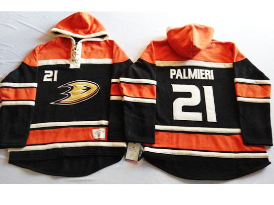 Mens Nhl Anaheim Mighty Ducks #21 Palmieri Black&orange (team Hoodie) Jersey