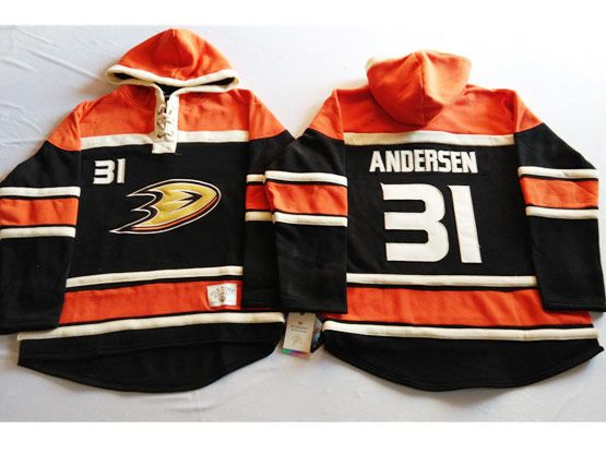 Mens Nhl Anaheim Mighty Ducks #31 Andersen Black&orange (team Hoodie) Jersey