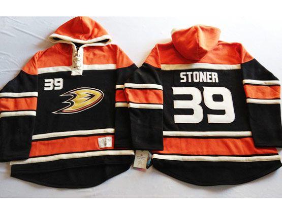 Mens Nhl Anaheim Mighty Ducks #39 Stoner Black&orange (team Hoodie) Jersey