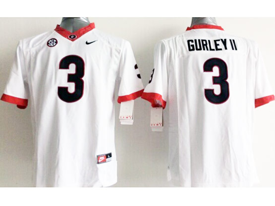 Youth Ncaa Nfl Georgia Bulldogs #3 Gurley Ii White Sec Limited Jersey