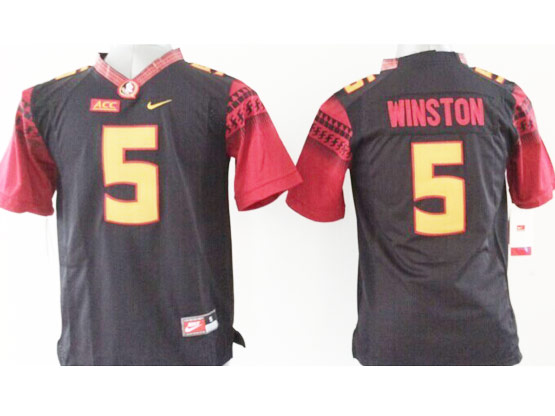 Youth Ncaa Nfl Florida State Seminoles #5 Winston Black (gold Number) Jersey