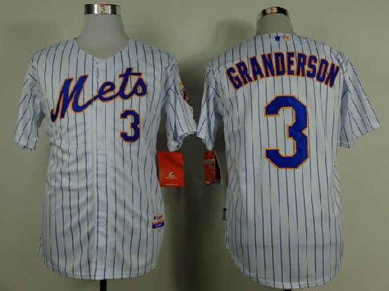 Mens mlb new york mets #3 granderson white (blue stripe) Jersey