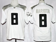 Mens Ncaa Nfl Oregon Ducks #8 Mariota White (black Number) Jersey