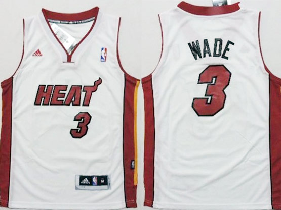 Mens Nba Miami Heat #3 Wade White Revolution 30 Jersey (p)