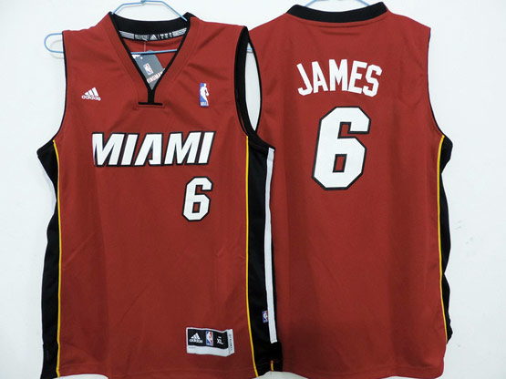Mens Nba Miami Heat #6 James Red Revolution 30 Jersey (p)