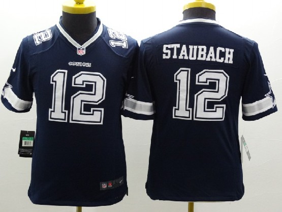 Youth Nfl Dallas Cowboys #12 Staubach Blue Limited Jersey
