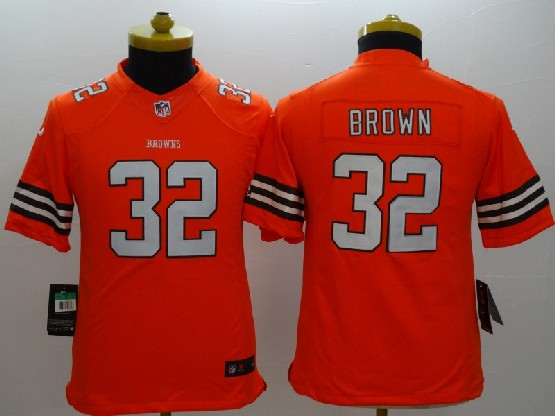 Youth Nfl Cleveland Browns #32 Brown Orange Limited Jersey