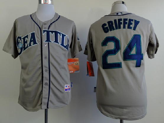 Mens Mlb Seattle Mariners #24 Griffey Gray Jersey