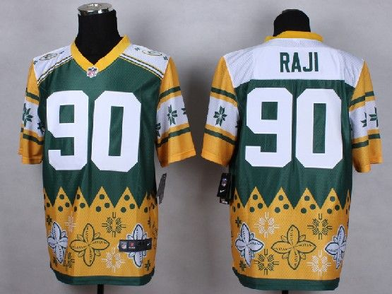 Mens Nfl Green Bay Packers #90 Raji White&yellow&green 2015 Noble Fashion Elite Jersey