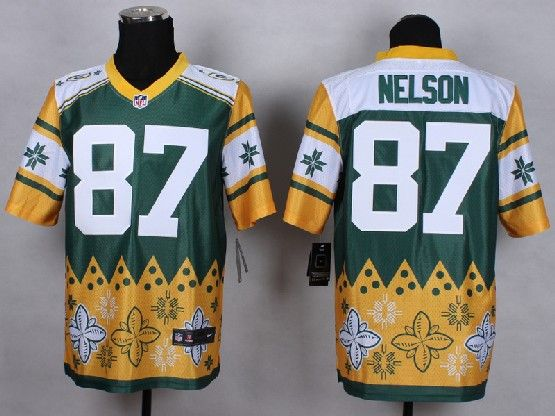 Mens Nfl Green Bay Packers #87 Nelson White&yellow&green 2015 Noble Fashion Elite Jersey