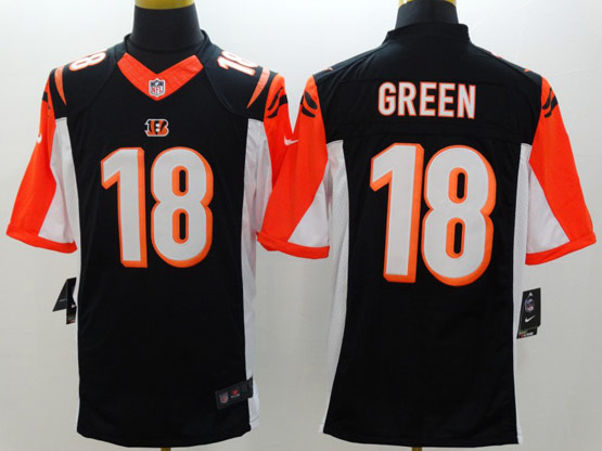 mens nfl Cincinnati Bengals #18 AJ Green black limited jersey