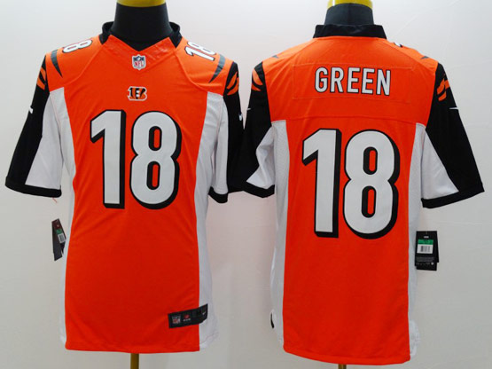 mens nfl Cincinnati Bengals #18 AJ Green orange limited jersey