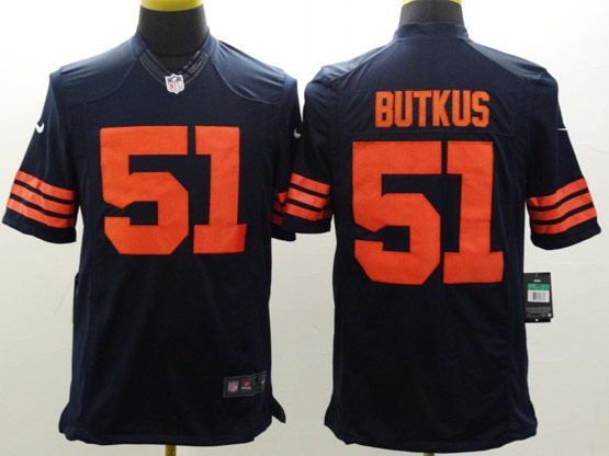 Mens Nfl Chicago Bears #51 Butkus Blue (orange Number) Limited Jersey