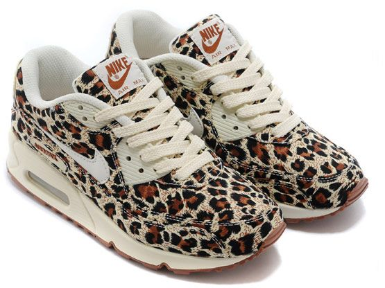 Women Air Max 90 Running Shoes Color Brown&cream Leopard