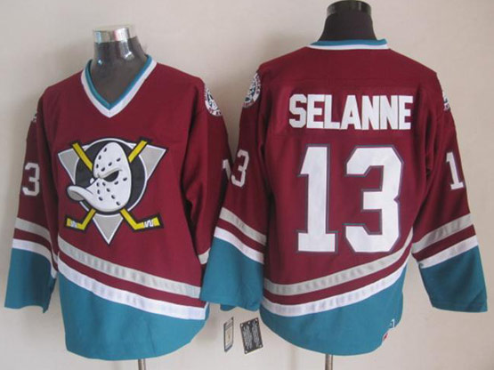 Mens nhl anaheim mighty ducks #13 selanne red throwbacks Jersey