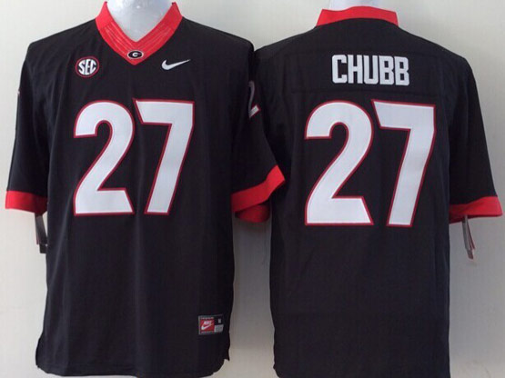 Mens Ncaa Nfl Georgia Bulldogs #27 Chubb Black Sec Limited Jersey