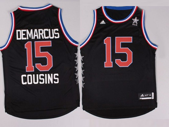 Mens Nba Nyc 2015 All Star West Sacramento Kings #15 Cousins Black Jersey