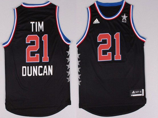 Mens Nba Nyc 2015 All Star West San Antonio Spurs #21 Duncan Black Jersey