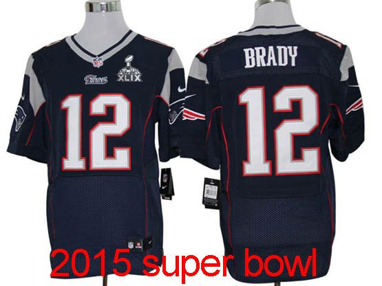 mens nfl New England Patriots #12 Tom Brady blue elite (2015 super bowl) jersey