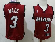 Kids Nba Miami Heat #3 Wade Red (white Number) Jersey