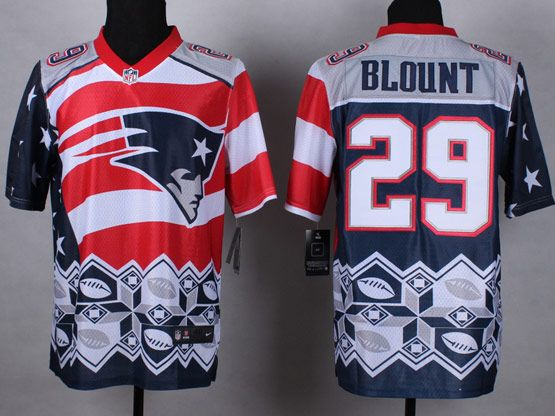 Mens Nfl New England Patrio #29 Blount Blue&white&red 2015 Noble Fashion Elite Jersey
