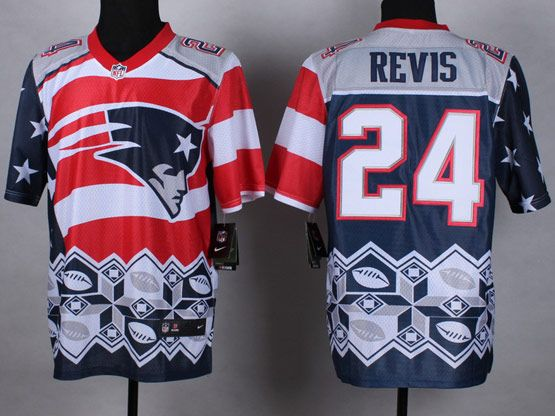 Mens Nfl New England Patrio #24 Revis Blue&white&red 2015 Noble Fashion Elite Jersey