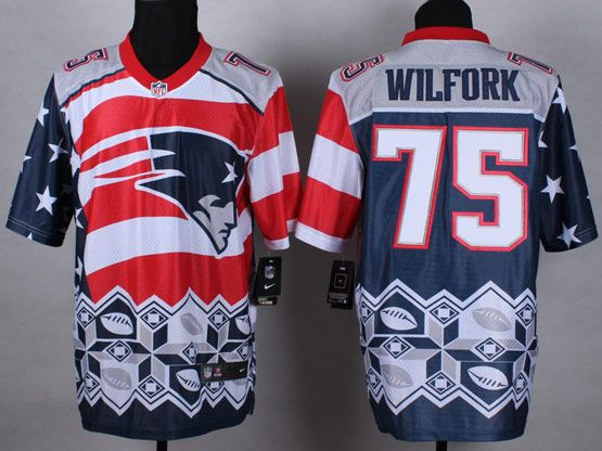 Mens Nfl New England Patrio #75 Wilfork Blue&white&red 2015 Noble Fashion Elite Jersey